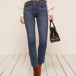 Reformation - Winona Mid Slim Jean With Button Fly